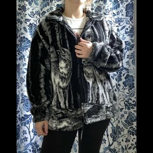 Vtg Wolf Print Teddy Jacket